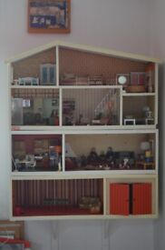 Vintage Lundby dolls house with furniture and dolls