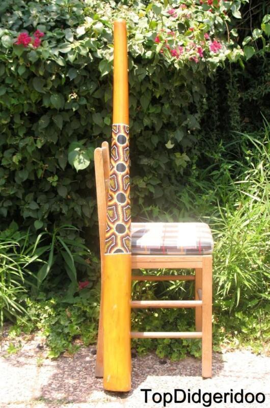 "51""130cm DIDGERIDOO+Bag+Beeswax Mouthpiece Teak Wood Native Dot-Paint Artwork"