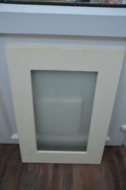 Two kitchen cupboard doors 500mm ivory frame with frosted insert