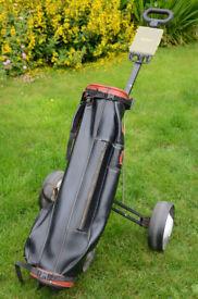 Vintage Winford Leather Golf Bag & MacGregor Folding Trolley