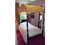 Antique French four poster bed black wood French toile canopy,