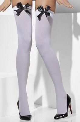 STRÜMPFE WEIß DECKEND FÜR FRAU ZUBEHÖR KOSTÜM SEXY HALLOWEEN KARNEVAL (Sexy Halloween Kostüme Für Frauen)
