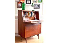 Vintage Elliotts of Newbury teak Bureau / desk / cabinet. Delivery. Midecentury / Danish style