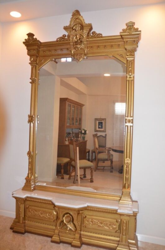 Mirror - Large Gold Antique Gilt Wood Pier Mirror