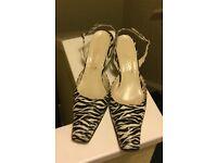 Unique Zebra print ladies shoes size 7