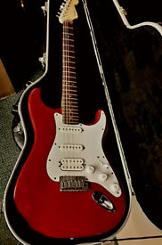 """Fender Stratocaster Deluxe """" Fat Strat """" Electric Guitar,Rare Red Colour,+Fender Hard Case ,Year2001"""