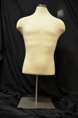 Counter Top Cloth Torso Male Mannequin W Adjustable Base