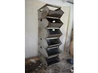 Valentini stacking storage - french vintage industrial retro x 6