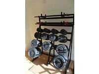 Les Mills *REDUCED PRICE* complete professional weights 317 kg with storage rack and bars