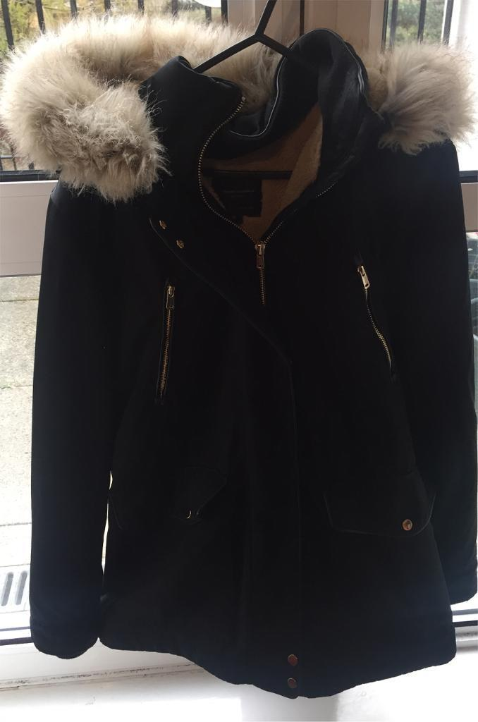 Zara Quilted Coat with Faux Fur Hood - Medium