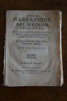 Libro Vera Narrazione Peste Milano 1576 Besta 1628 Incompleto -  - ebay.it