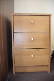 2 x Argos Brown Malibu Bedside Tables (with 3 drawers)