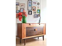 Very rare Vintage Minty of Oxford teak and rosewood sideboard. Delivery. Modern / Danish style.