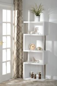 ***BRAND NEW BUILT***Charm 5 Shelf Unit in High Gloss White/Chrome ***
