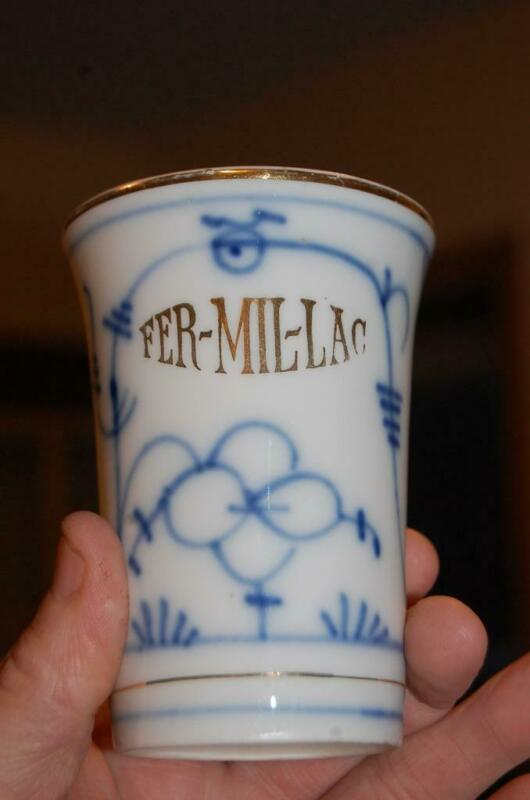 ANTIQUE FLOW BLUE ONION FER-MIL-LAC STOMACH STABILIZER PHARMACY CUP FERMILLAC