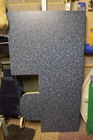 Mottled blue effect double rounded finish worktop