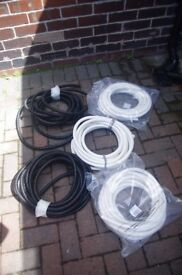 Corrugated plastic conduit - 5 lots: three white, 2 black. 2 unopened packets