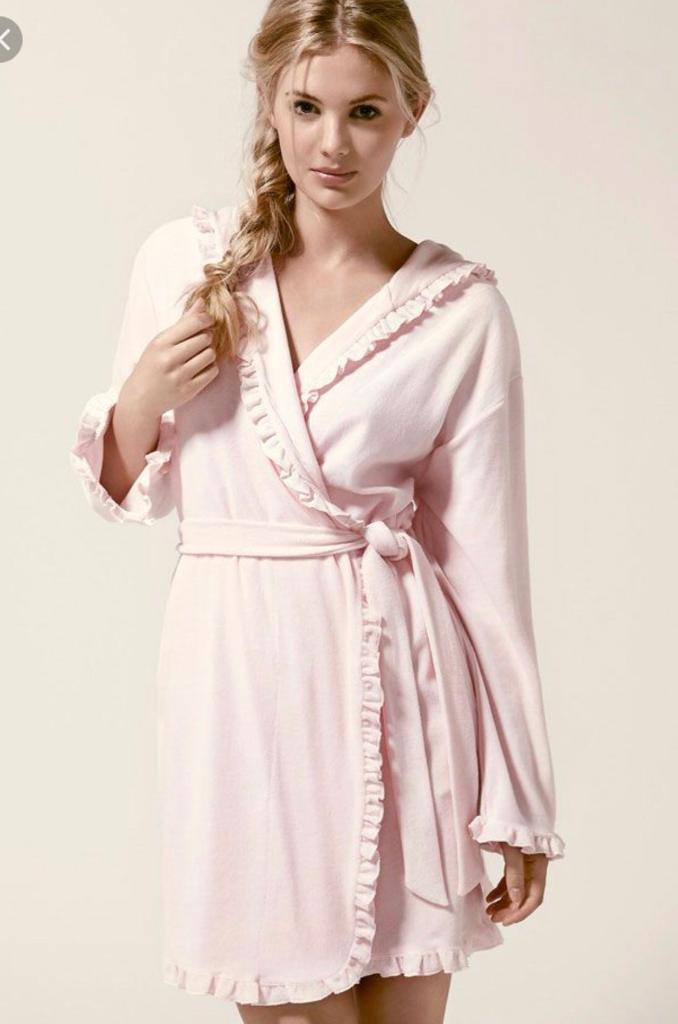 Boux Avenue Candy Pink Frilly Lightweight Robe Dressing Gown In