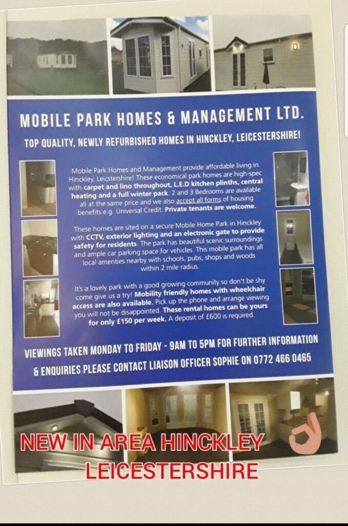 Newly established mobile homes to rent £575 no deposit required! Move in  straight away | in Leicester, Leicestershire | Gumtree