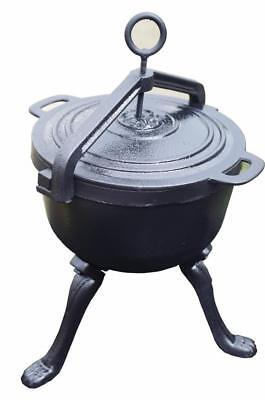 8l HEAVY DUTY DUTCH OVEN CAST IRON COOKWARE CAMPING FIRE COOKING FIREPLACE