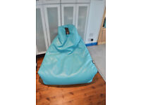 Uber cool Extreme Lounging bean bag chair turquoise faux leather