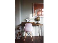 Rustic Industrial Writing Desk & Chair Steel hairpin Legs Table