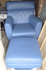 100% Genuine Leather Armchair Sofa With Footstool - BLUE. Very Good Condition