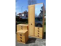 VINTAGE RETRO 1960'S BEDROOM SET WARDROBE CHEST OF DRAWERS AND BEDSIDE TABLE