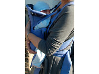 BabyBjorn Active baby Carrier in blue w/ hooded fleece cover