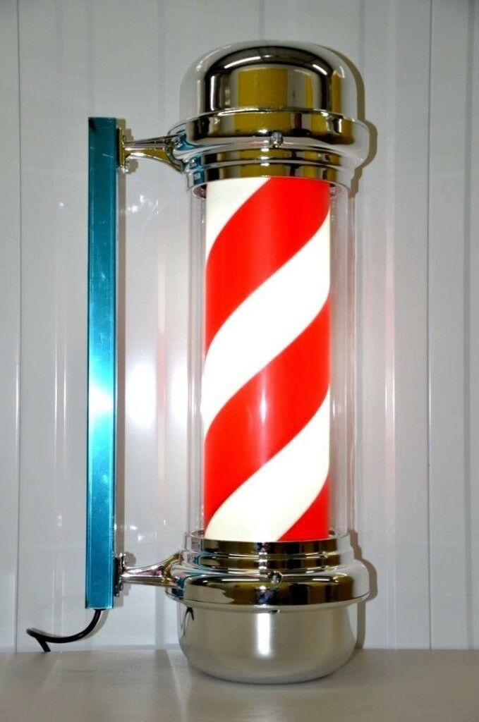 CLASSIC BARBER POLE LED ILLUMINATED ROTATING STRIPE SALON SIGN 75CM IN 2 COLOURS