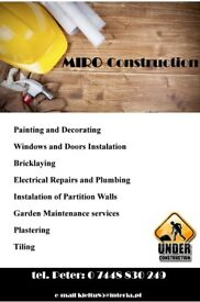 Professional services. Quality guaranteed, Painting, Plastering, Tiling and more