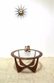 60s original vintage mid century retro G Plan Astro round glass top coffee table by Victor Wilkins