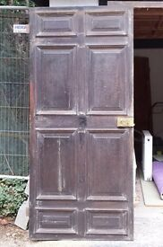 Vintage Reclaimed Solid Oak Door with Old Brass Door Lock and Knob with key