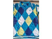 Mizuno Short Sleeve Diamond Pattern Cotton Golf Shirt Blue