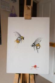 Bumble Bee Original Textile Painting Handmade