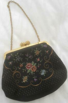 1950s Handbags, Purses, and Evening Bag Styles GORGEOUS SUPER SWEET VINTAGE 50'S BLACK EVENING BAG PETIT POINT FLOWERS $22.47 AT vintagedancer.com