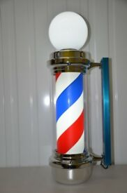 Globe Barber Pole LED Illuminated Rotating Stripe Salon Sign 85cm in 3 Colours
