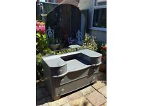 Dark Grey Shapely Dressing Table Chest with Large Mirror and 4 Drawers - Bedroom Furniture