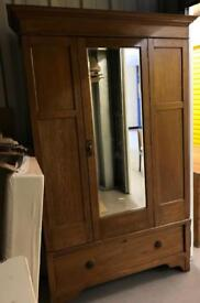 Antique mirrored armoire or wardrobe for shabby chic project