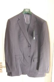 Mens classic new navy two piece suit jacket 42R, trousers 34R, usual trimmings