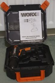 WORX WX386 18V (20V Max) Cordless Hammer Drill with genuine lockable carry case and instructions.