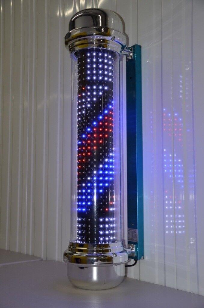 Full Led barber Pole illuminated Rotating stripe Salon 1.25 cm 7 Styles Remote Control