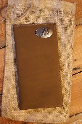 Leather Mens Roper (ZEP-PRO Alabama Crimson Tide  Mens Roper Genuine Leather Wallet checkbook)