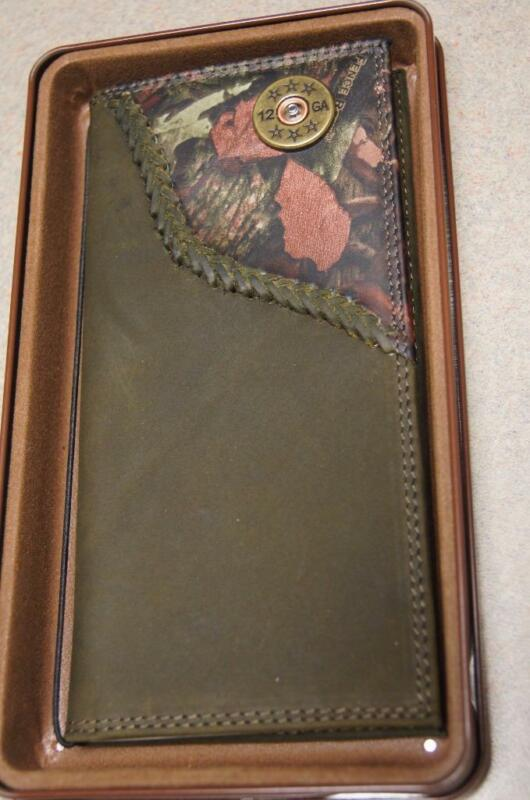 ZEP-PRO 12 gauge SHOTGUN SHELL Roper Leather Fence Row Camo Wallet TIN GIFT BOX