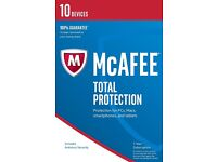 McAfee Total Protection 2017 (antivirus) — for 10 devices (sealed retail scratch card pack)