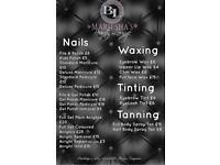 Nails, waxing, tinting, tanning