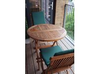 Solid teak folding table and 2 chairs from Indonesia