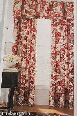 Cindy Crawford Flora Rouge Barn Red Floral Panels Or Valance Choose