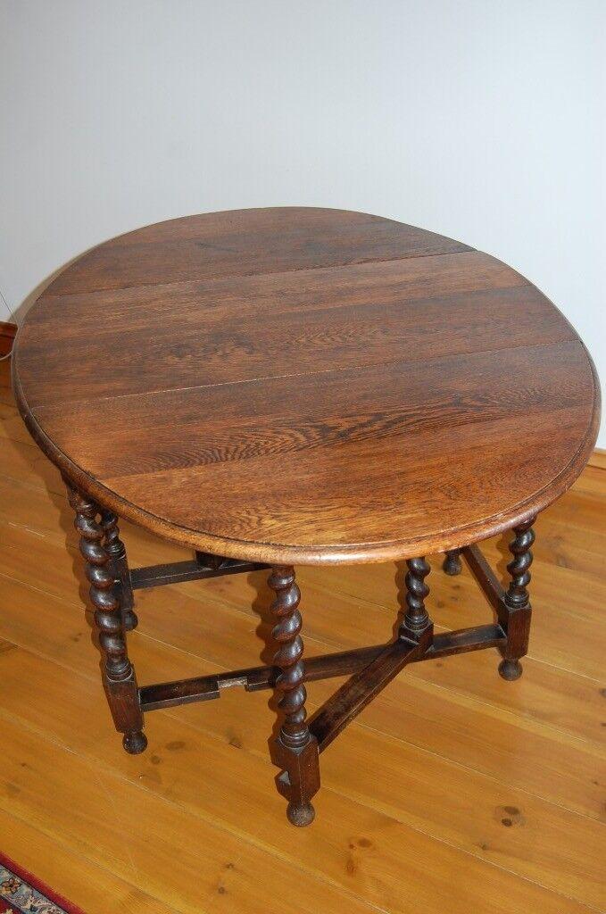 Antique Oak Oval Gate Leg Table With Barley Twist Legs