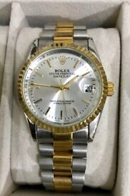 Men's Rolex DateJust Steel & Gold Champagne Dial Watch